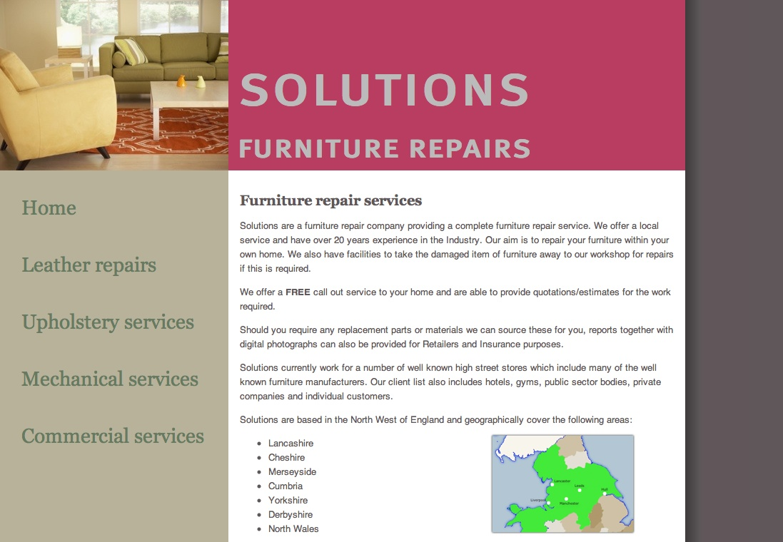 Solutions Furniture Repairs homepage